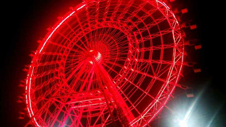 ferris wheel during night time